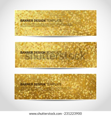 Set of trendy gold vector banners template or website headers with abstract geometric bokeh background. Vector design illustration EPS10 - stock vector