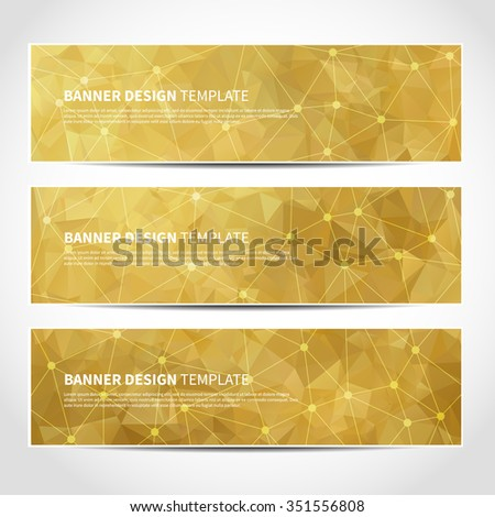 Set of trendy gold vector banners template or website headers with abstract geometric triangular background. Vector design illustration EPS10 - stock vector