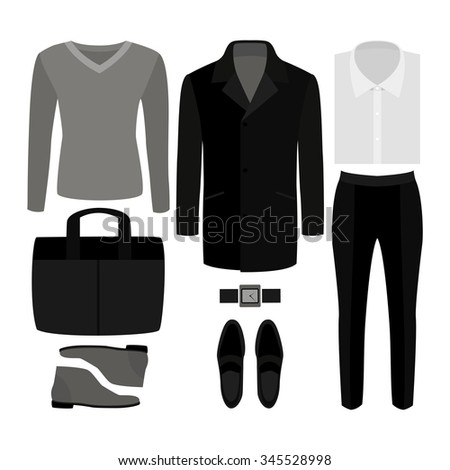 Set of  trendy men's clothes. Outfit of man coat, pants, pullover, shirt and accessories. Men's wardrobe. Vector illustration - stock vector