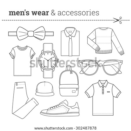 Set of trendy men's wear and accessories Pack of fashionable male apparel's elements thin line in hipster style Line art Collection of stock vector clipart - stock vector