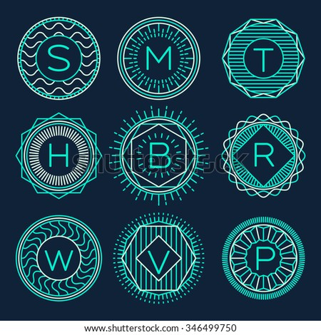 Set of trendy monograms, logotypes template, design elements, vector illustration, linear style. - stock vector
