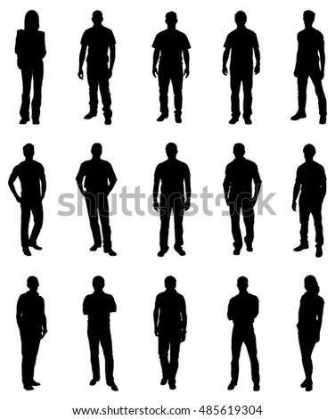 Set Of Trendy People Silhouettes. Vector Image