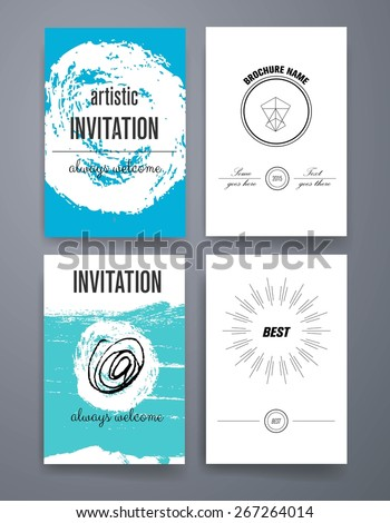 Calligraphic Flyer Design Template Set Classic Stock Vector