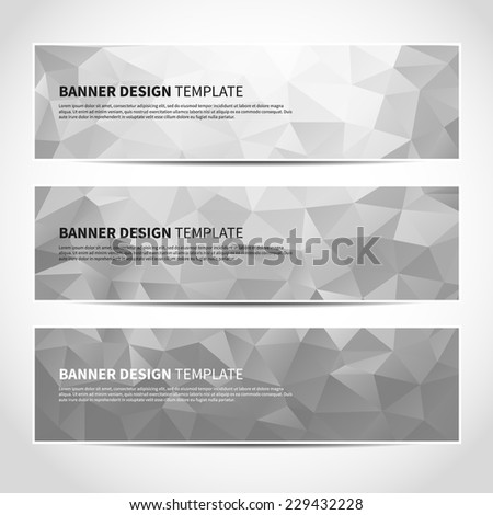 Set of trendy silver triangular vector banners template or website headers with abstract geometric background. Vector design illustration EPS10 - stock vector