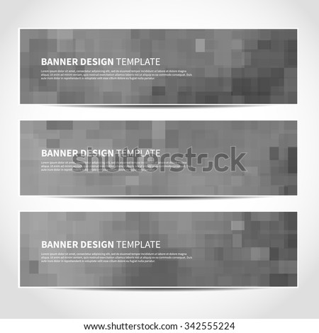 Set of trendy silver vector banners template or website headers with abstract geometric background. Vector design illustration EPS10 - stock vector