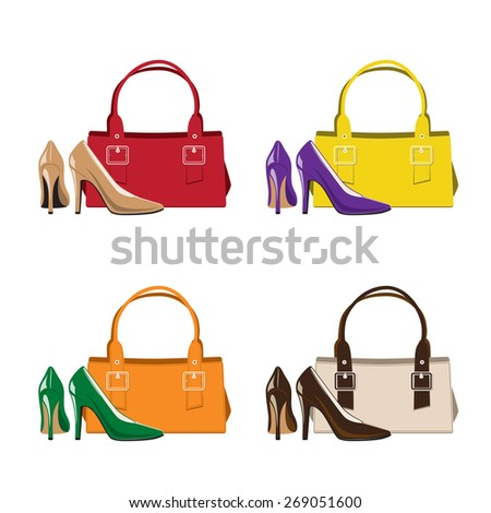 Set of Trendy Woman Shoes and Handbag - stock vector