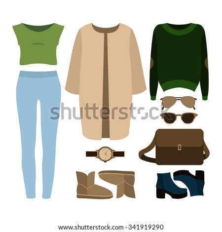 Set of  trendy women's clothes. Outfit of woman coat, jeans, top, pullover and accessories. Women's wardrobe. Vector illustration