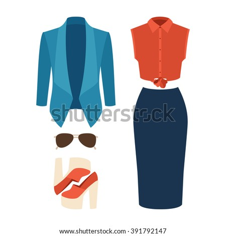 Set of trendy women's clothes. Outfit of woman jacket, skirt, shirt and accessories. Women's wardrobe. Vector illustration