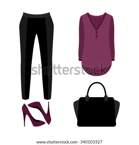 Set of  trendy women's clothes. Outfit of woman panties, blouse and accessories. Women's wardrobe. Vector illustration