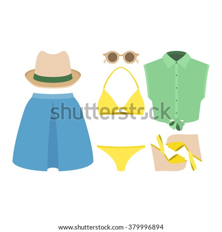 Set of trendy women's clothes. Outfit of woman swimsuit, skirt, shirt and accessories. Women's wardrobe. Vector illustration