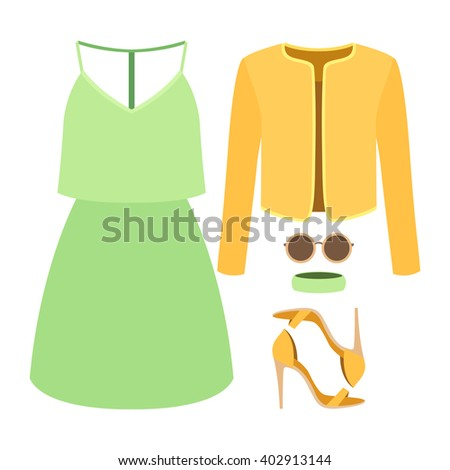 Set of trendy women's clothes with jacket, dress and accessories. Vector illustration