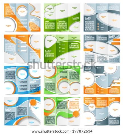 Set of Tri-fold brochure template - stock vector