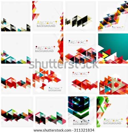 Set of triangle geometric abstract backgrounds. Universal business or technology templates, banners, identity layouts - stock vector