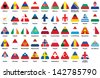 set of triangle icons with European flags - stock vector