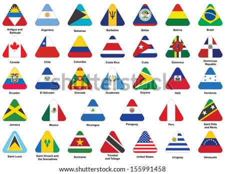 set of triangle icons with flags of Americas - stock vector