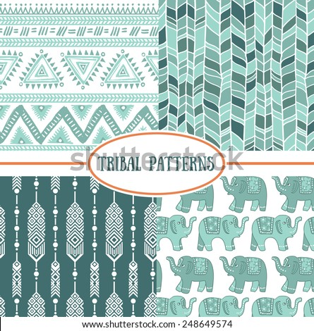 Set of tribal striped seamless pattern. Geometric backgrounds  - stock vector
