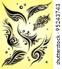 Set of tribal tattoo - stock vector