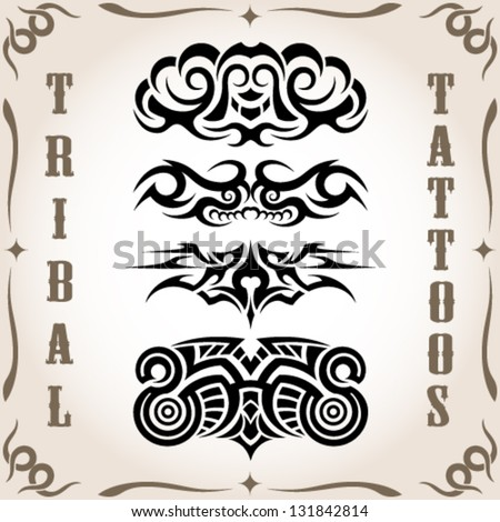 Set of tribal tattoo including - stock vector