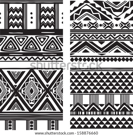 Set of tribal texture - stock vector