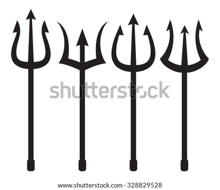 set of trident silhouette - stock vector