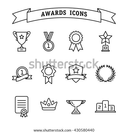 Set of trophy and awards icons isolated on a white background. Awards line icon - stock vector