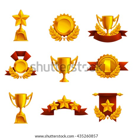 Set of trophy, medals and award. Vector illustration.