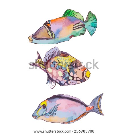 Set of tropical fishes. Vector - stock vector