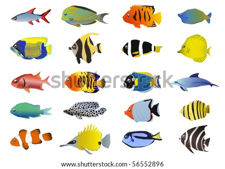 Set of tropical fishes, vector illustration - stock vector