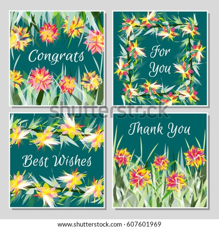 Set tropical greeting cards beautiful exotic stock vector 607601969 set of tropical greeting cards with beautiful exotic flowers placed in grass or twisted into frames m4hsunfo
