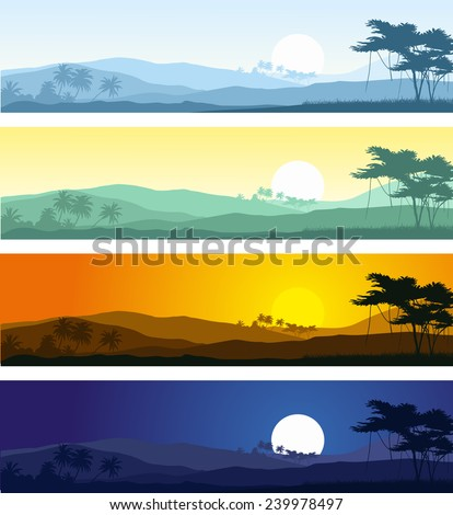 Set of tropical mountain landscape in various times of day.Vector illustration.