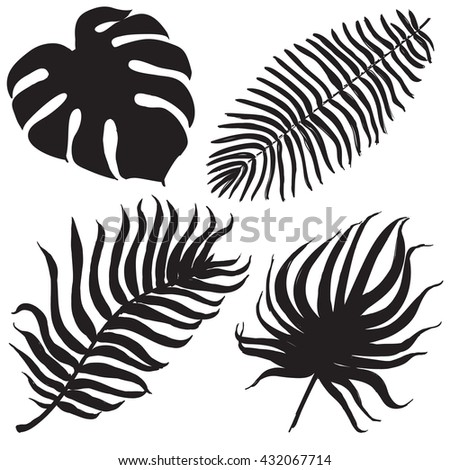 Set of tropical palm leaves, black silhouettes isolated on white background. Vector - stock vector