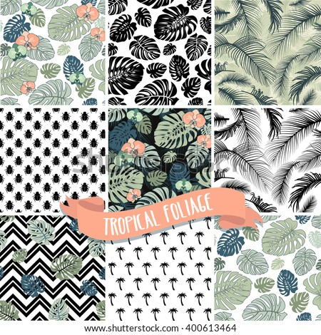 Set of Tropical Palm leaves seamless patterns