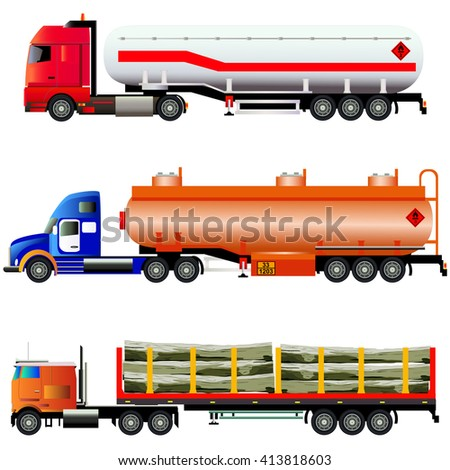 Set of trucks. Big fuel gas truck, LNG transporter and timber wood truck. Vector illustration. Flat style, silhouettes. Isolated on white