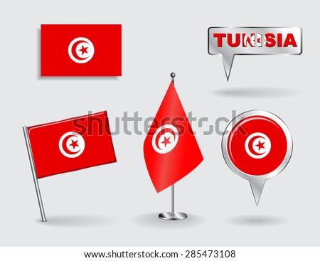 Set of Tunisian pin, icon and map pointer flags. Vector illustration. - stock vector