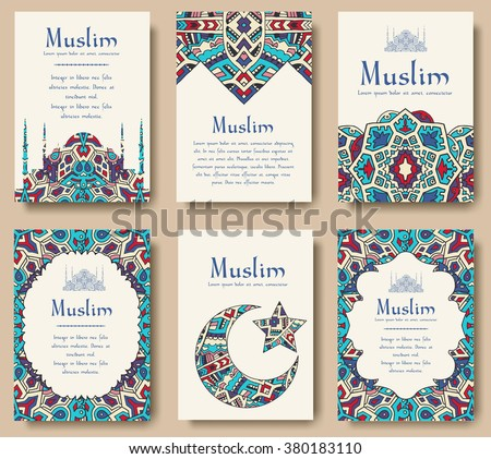 Set of Turkish flyer page ornament illustration concept. Art traditional, Islam, arabic, abstract, ottoman motifs, elements. Vector decorative ethnic greeting card or invitation design background. - stock vector