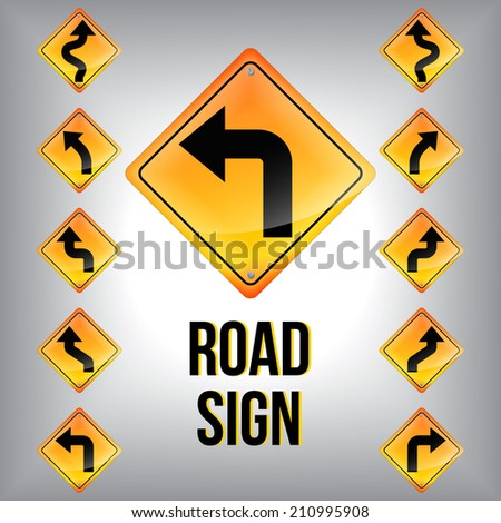 Set of turn traffic road sign grouped. Vector graphic - stock vector