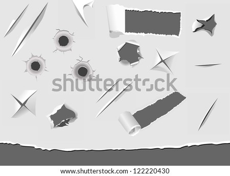 Set of turned and damaged paper elements. Jpeg version also available in gallery - stock vector