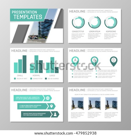 Set of turquoise template for multipurpose presentation slides with graphs and charts. Leaflet, annual report, book cover design.