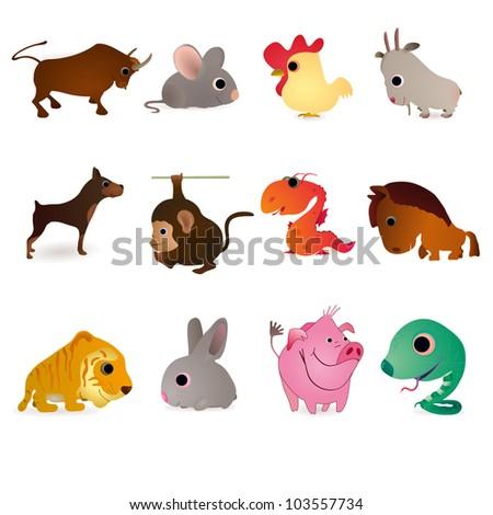 Set of twelve animals as symbols of oriental  New Years - stock vector