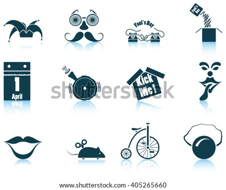 Set of twelve April Fool's day icons. Vector illustration. - stock vector