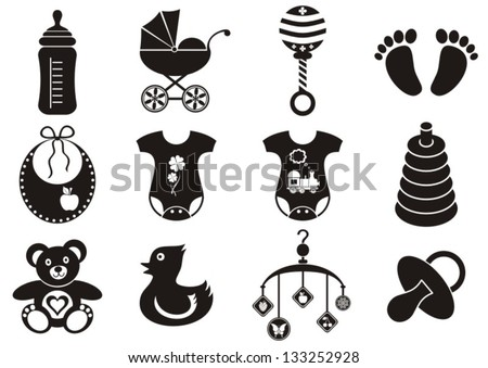 Set of twelve black and white baby boy and girl icons - stock vector