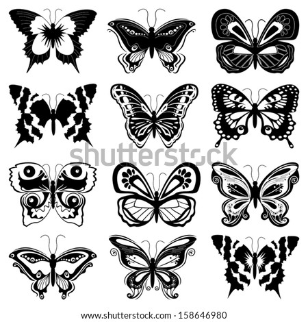 Set of twelve black butterfly silhouettes on a white background, hand drawing vector illustration - stock vector