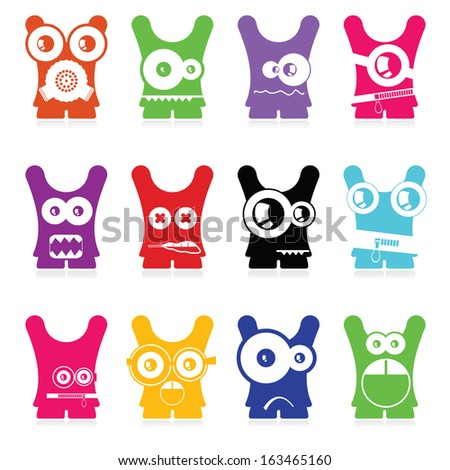 Set of twelve color monsters isolated on white. vector