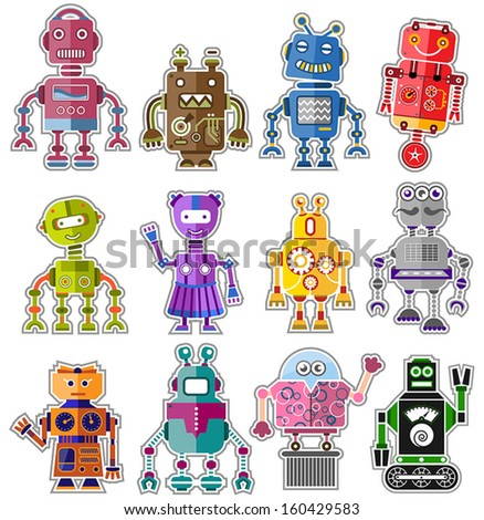 Set of twelve colorful and cute robots