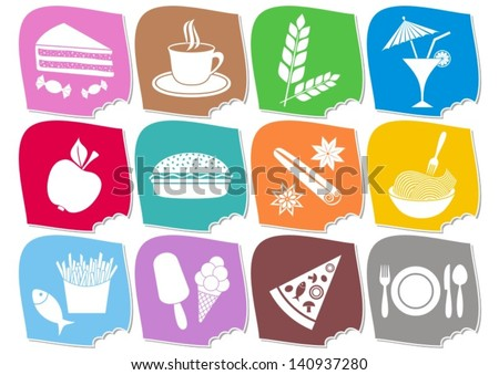 Set of twelve colorful food and drink icons - stock vector