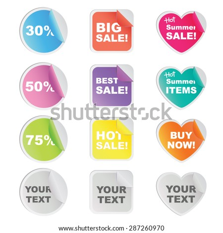 Set of twelve colorful stickers in circle, square and heart shaped for shop and seller.