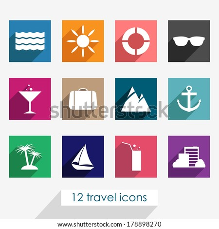 Set of twelve colorful travel icons with shadows on grey background. Vector version.