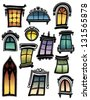 Set of twelve colorful windows - stock vector