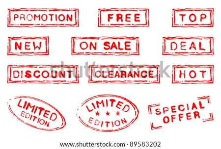 Set of twelve commercial grungy ink stamps - stock vector