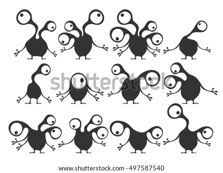 Set of twelve cute monsters isolated on white